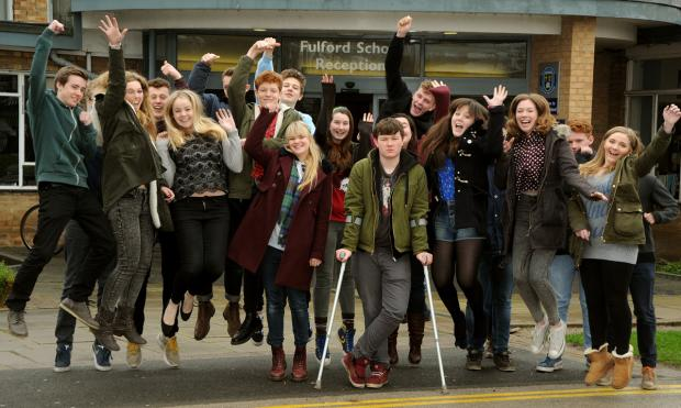 Students at Fulford School in York celebrate their good results