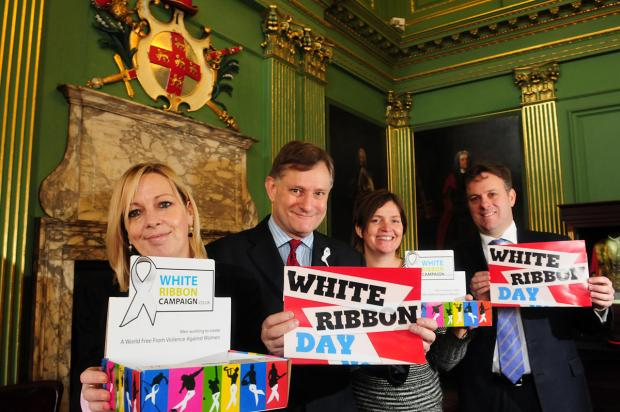 Coun Julie Gunnell, the Lord Mayor of York, with MPs Hugh Bayley and Julian Sturdy and Sarah Hill, from IDAS (Independent Domestic Abuse Services), promoting the bid for the city's White Ribbon status