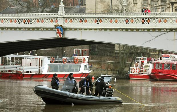 Police on the Ouse in January, during the search for Megan Roberts