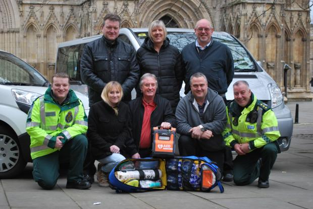 Members of the Fleetways team receive their new life-saving kit. Back, left to right: Ben Rushworth, Mick Blows, Christine Greensmith and Richard Benson, front, left to right, Sarah Price, Stewart Arnott, Jim Derry and Paul Stevens