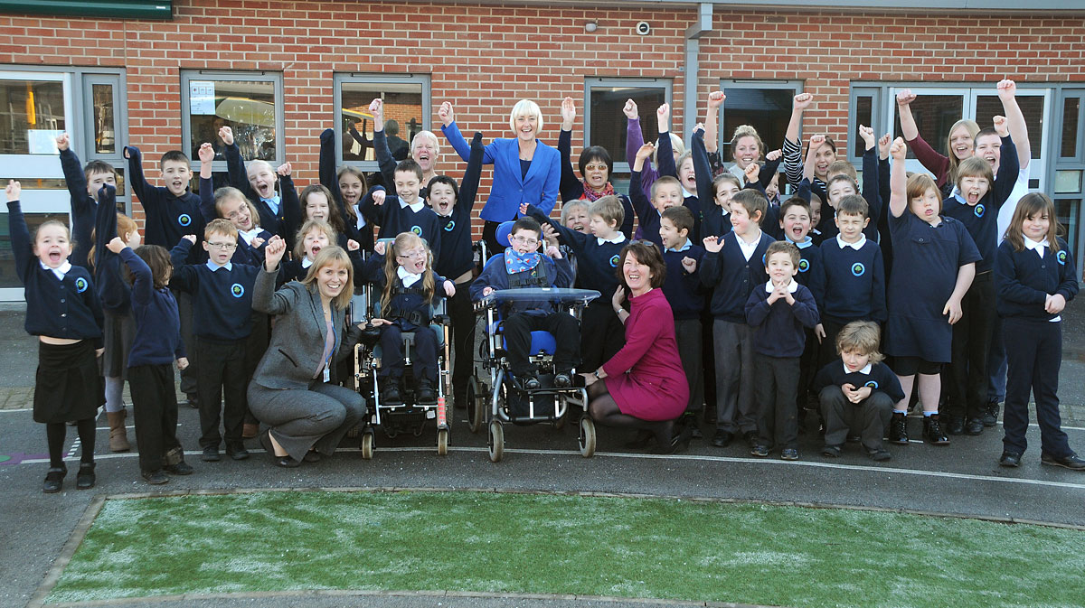 Pupils and staff at Hob Moor School celebrate their OFSTED result