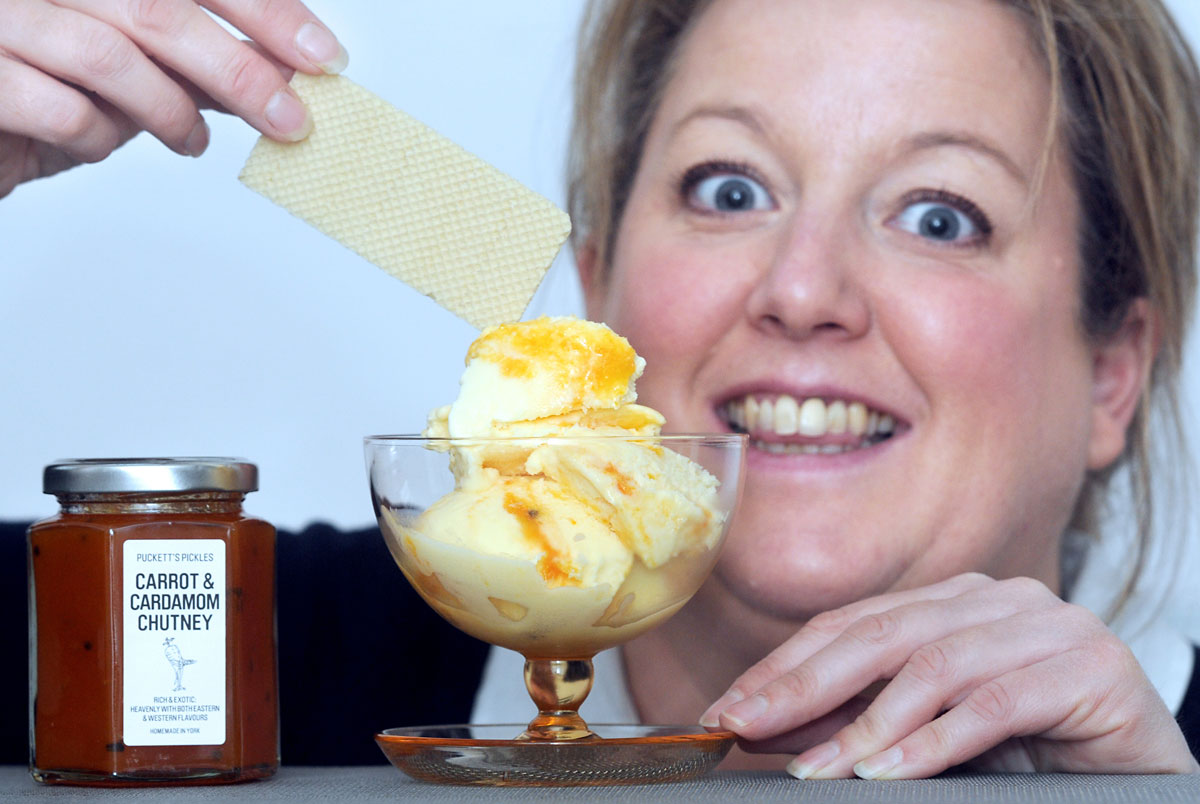 "Sarah Puckett, creator of Puckett's Pickles, with a bowl of carrot and  cardamom ""aphrodisiac"" ice- cream"