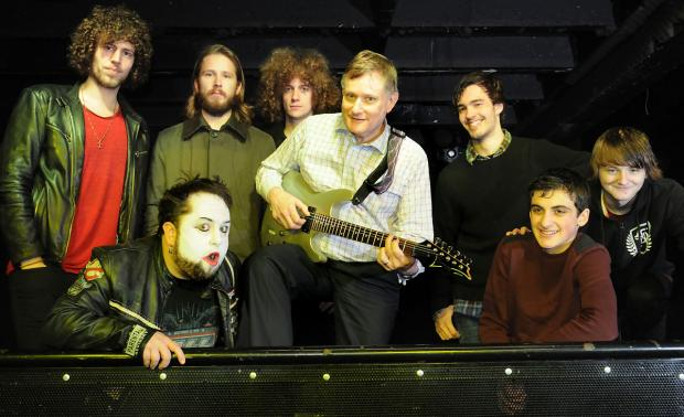 York Central MP Hugh Bayley with members of the bands Glass Caves, Blind Eye and A Joker's Rage ahead of yesterday's Independent Venue Week gig at Fibbers