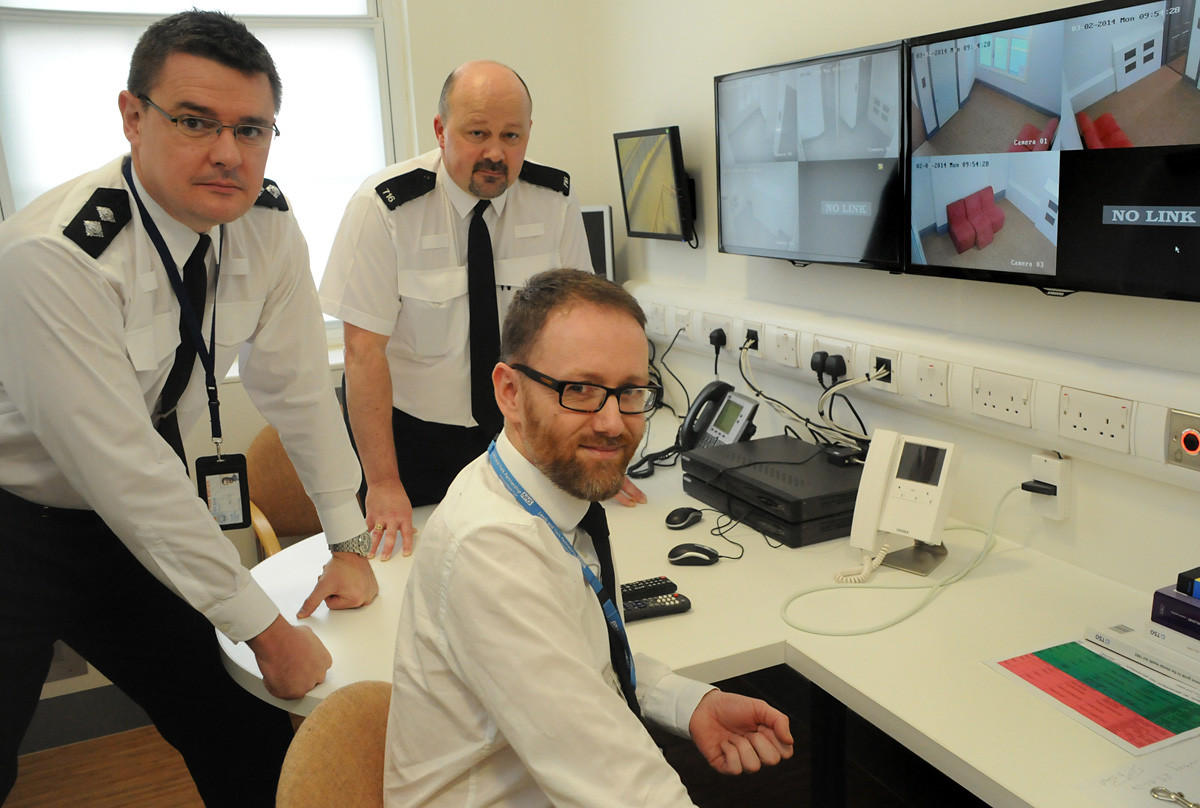 "In the monitoring room at the new ""place of safety"" at Bootham Hospital  are Inspector Bill Scott, PC Bob Thomson and unit service manager Jeff Whiley"