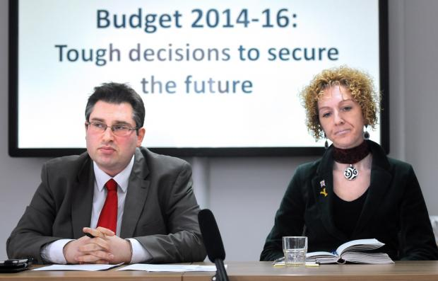 City of York Council leader Coun James Alexander and cabinet member Coun Tracey Simpson-Laing at a budget briefing, held at West Offices