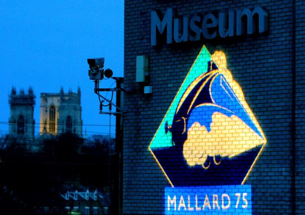 York Press: The image of  Mallard is projected onto the wall of the National Railway Museum