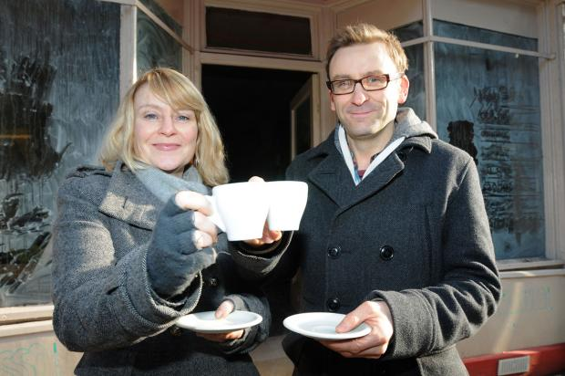 Sarah and Michael Lakin toast their new café-bar in Fossgate
