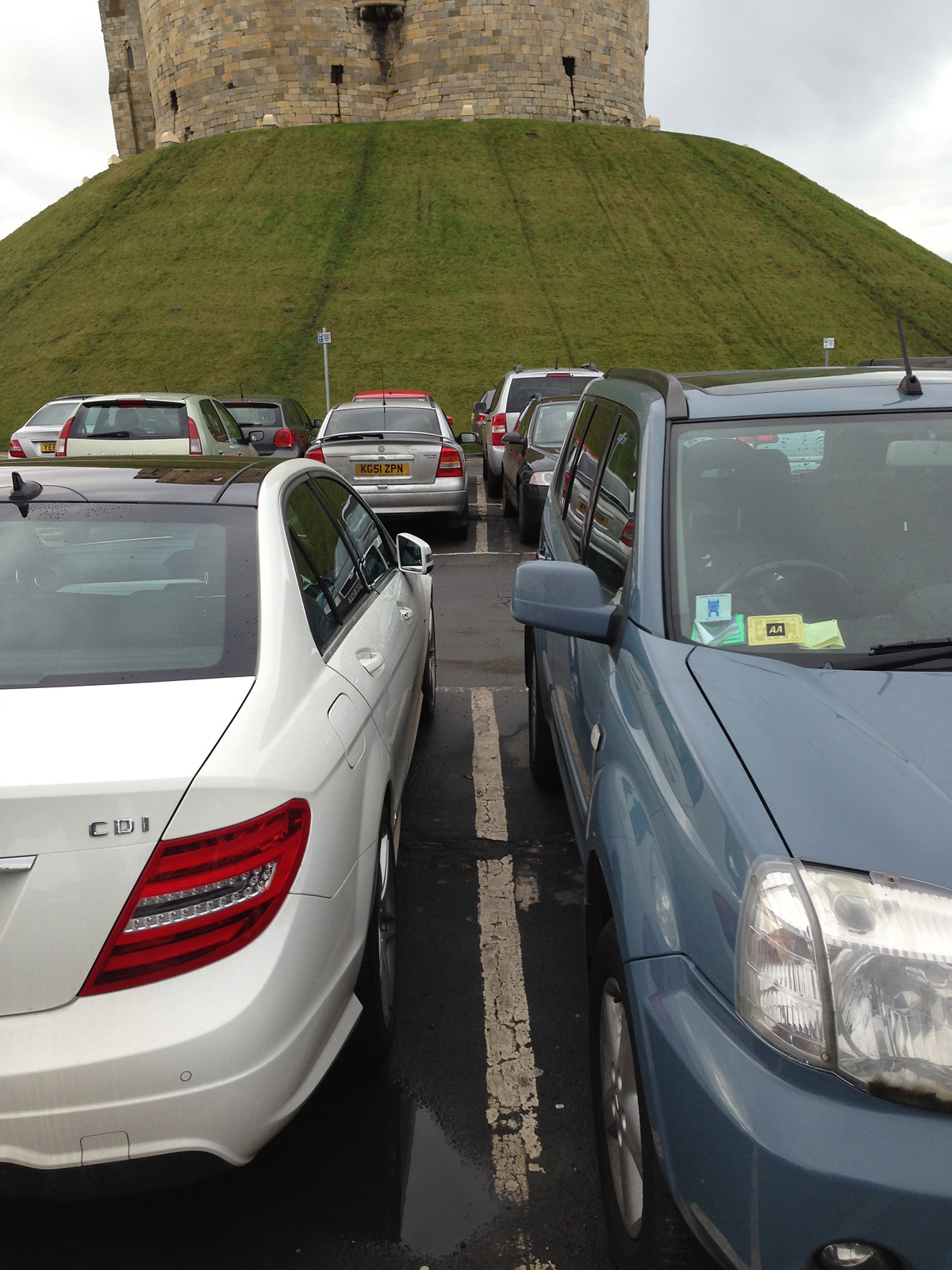 Letter writer Keith Massey submitted this photograph showing how tight the parking spaces are at Clifford's Tower
