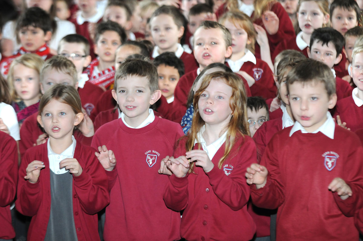 Pupils take part in singing world record attempt