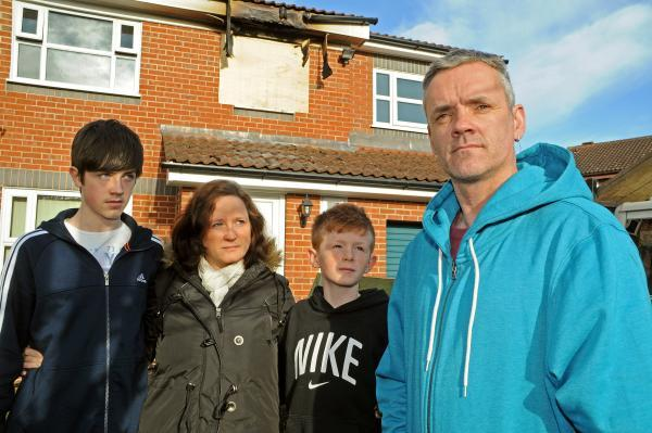 Kieran, Lynsey, Christopher and Michael Ward, who escaped from today's house fire in York.