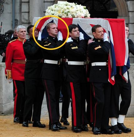 THATCHER FUNERAL: Lance Corporal James Steel, the pallbearer second from the rear, has been criticised after drinking two live goldfish while taking part in the NekNomination craze.