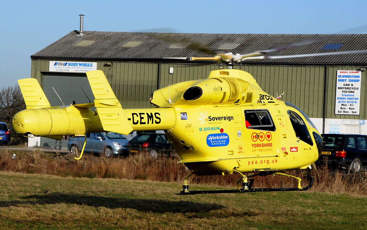 The air ambulance at Elvington Indu