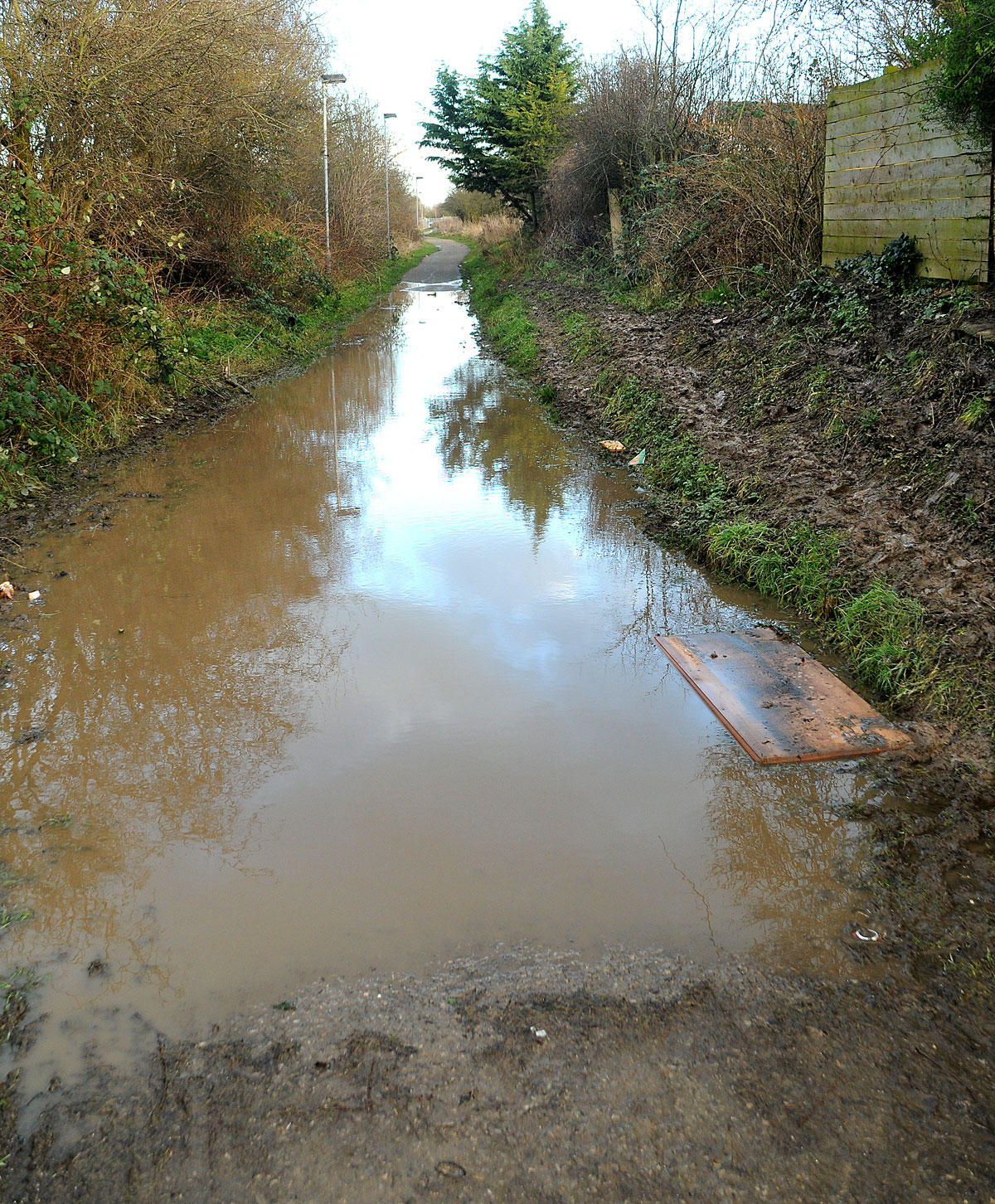 The flooded cycle path near Ambleside Avenue in Osbaldwick
