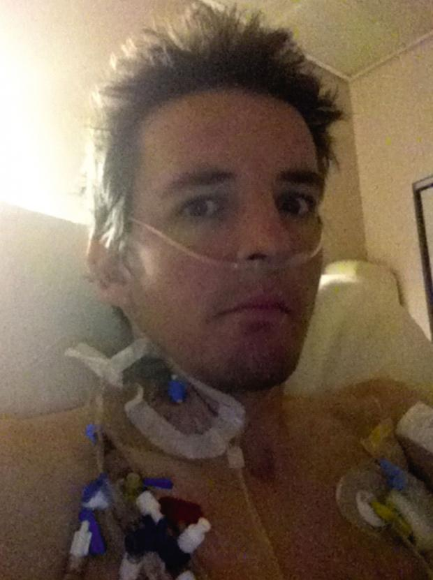 York Press: Sam in hospital following his  operation, with lots of tubes attached