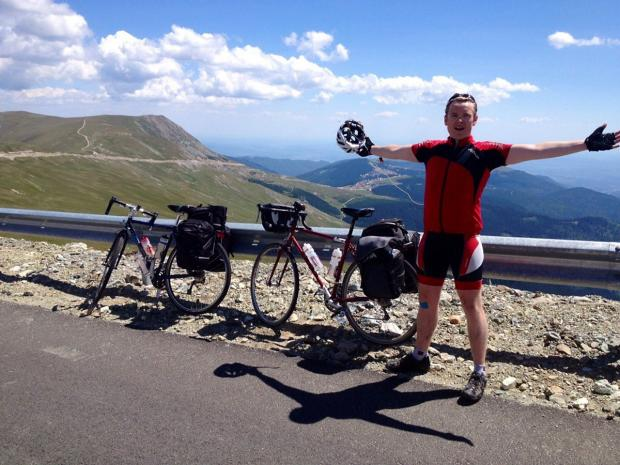 Louis Lunts during his cycle ride to Turkey