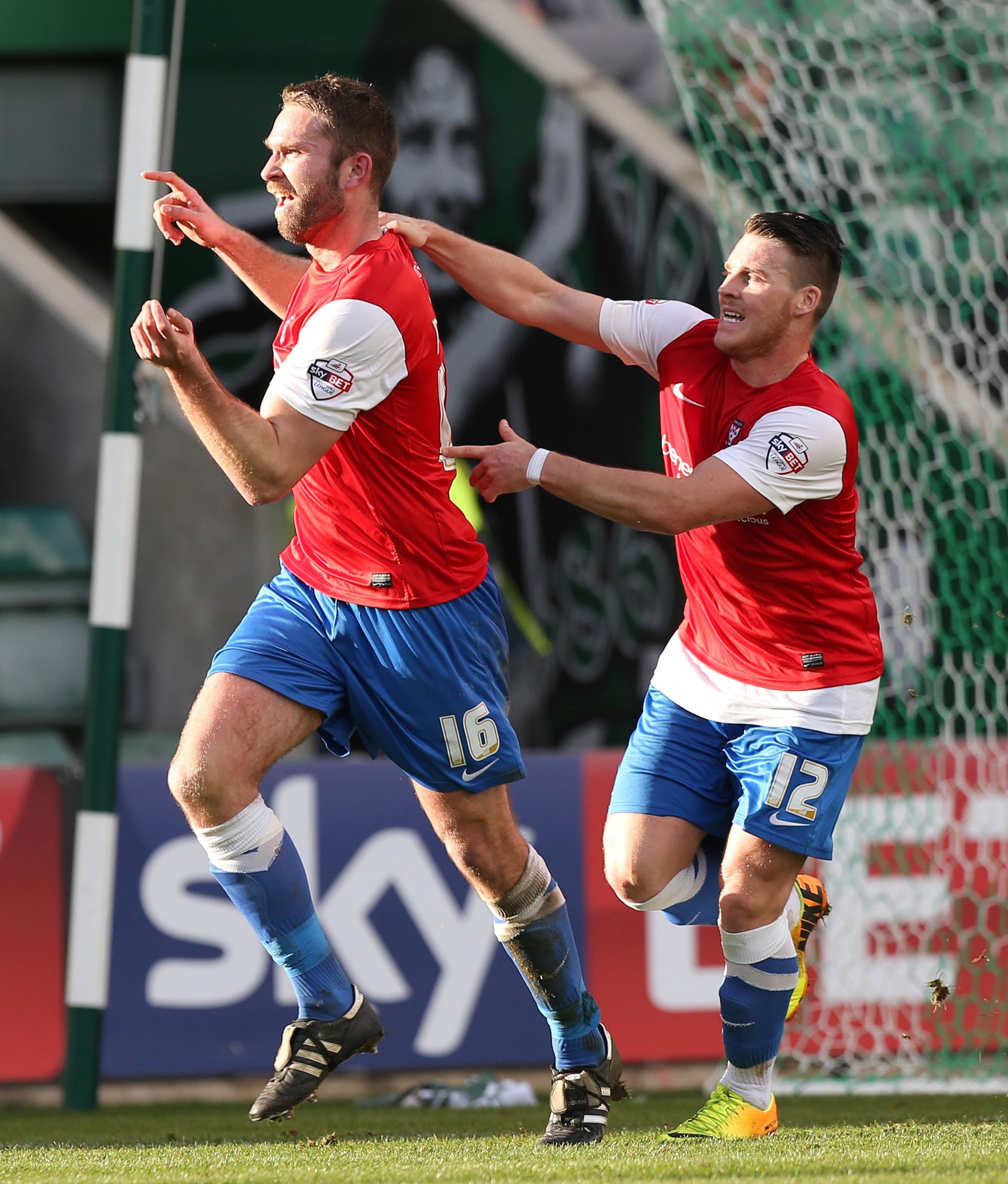 York City's John McCombe celebrates his first goal against Plymouth