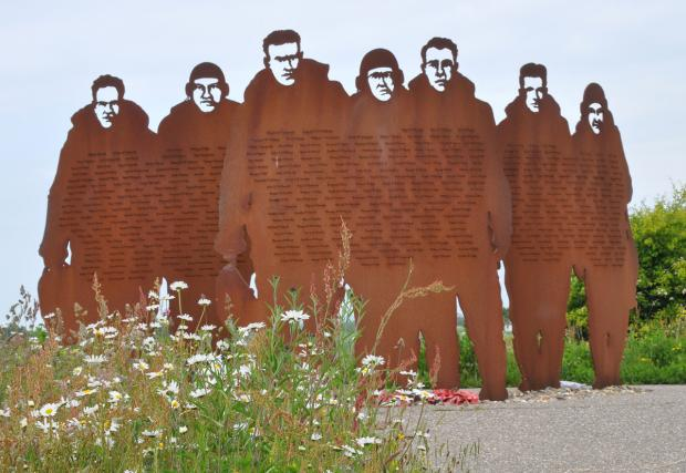 York Press: This memorial is a sculpture in metal of seven figures in silhouette representing bomber crews of 158 Squadron