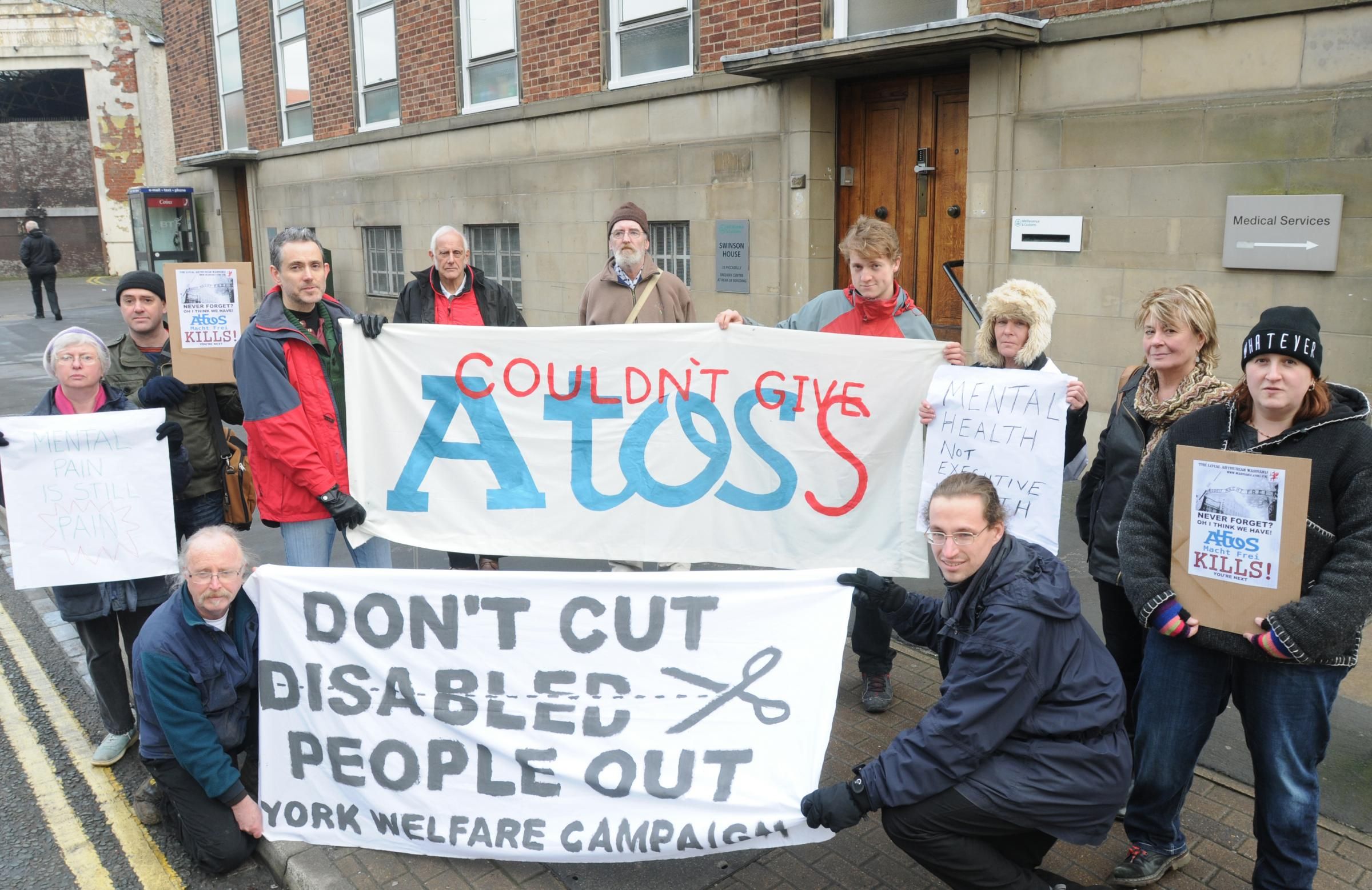 The protest against the Atos assessments in Piccadilly, York