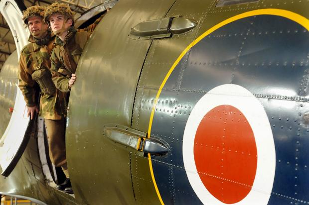 York Press: Jack Bramwell and his son, Alex, practise for their parachute drop in the Dakota at the Yorkshire Air Museum
