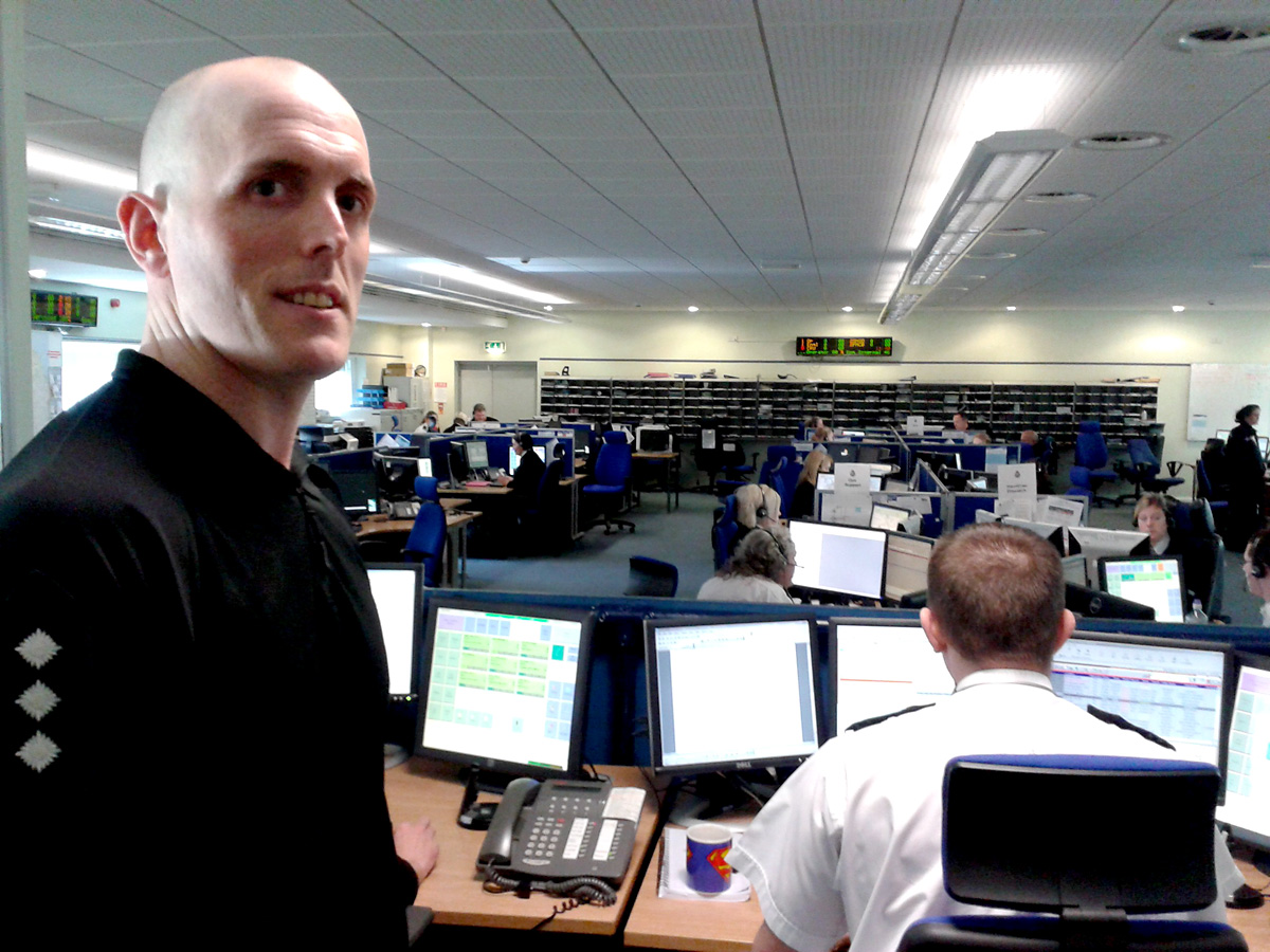 Chief Insp Mike Walker in the force control room