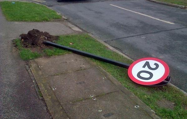 York 20mph sign flattened by vandal