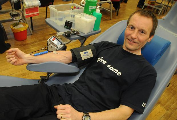Nigel Teasdale, of Hull Road, making his 100th donation