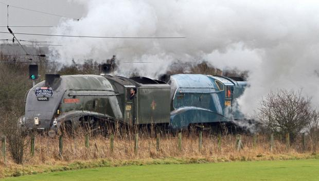 Union of South Africa towing Mallard to Shildon earlier this month, pictured in steam near Northallerton