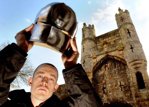 Chris Tuckley, head of interpretation for the Jorvik Group, with a replica of a medieval helmet that will form part of the refurbished Richard III Museum in Monk Bar