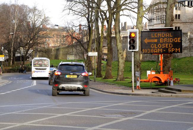A Lendal Bridge closure sign at the junction of Leeman Road and Station Road