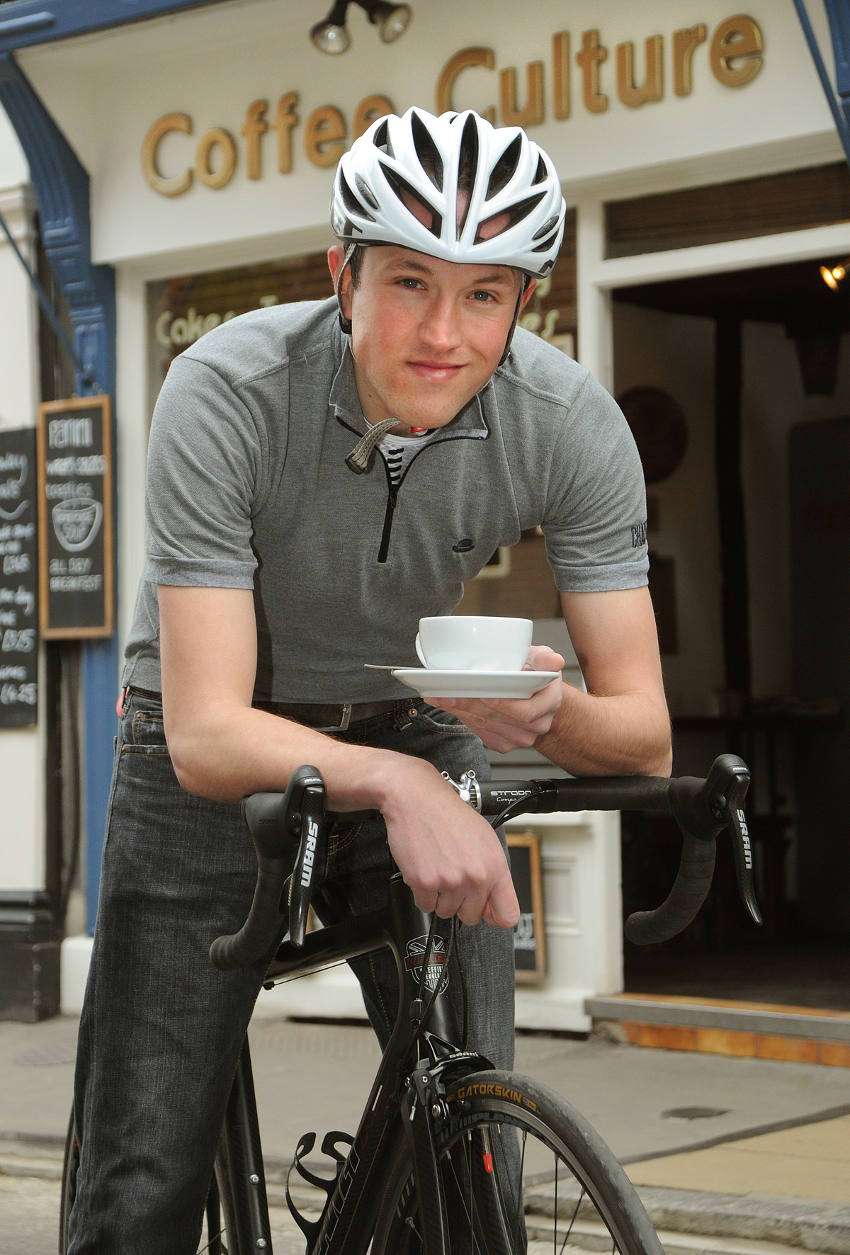 Cyclist Christopher Gargett at Coffee Culture in York