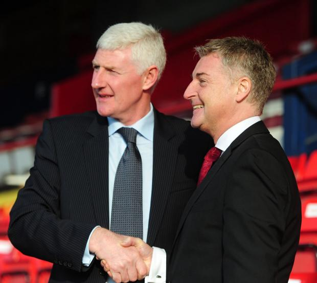 Chairman Jason McGill, right, with York City manager Nigel Worthington