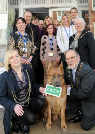 The Lord Mayor of York, Coun Julie Gunnell, and The Sheriff of York, Coun Brian Watson, join Rafe, a red sable German shepherd rescue dog, at the opening of the new RSPCA shop, in Goodramgate