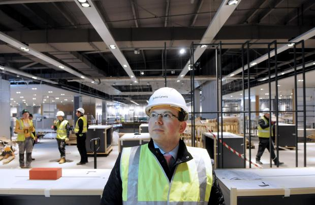 York Press: Manager Robert Garnish checks on building work progress at the new John Lewis store.