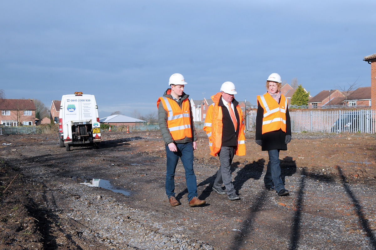 Coun Tracey Simpson-Laing with City of York Council housing development manager Michael Jones, left, and project manager Stewart Sadler at the site of the former tip in Beckfield Lane