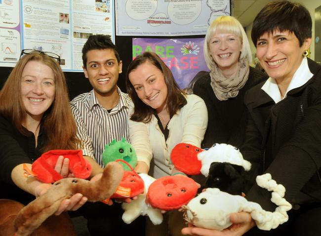 The rare disease team from York Hospital, the Hull and York Medical School and the University of York – from left, Dr Pegine Walrad, Shaan Bassi, Fabiana Asara, Kristy Blackeborough and Dr Fabiola Martin, with furry microbes to promote Rare Disease Day