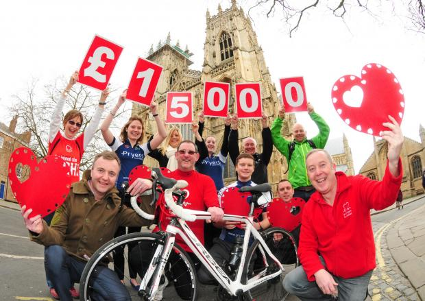 Phil McMahon, (front right) with fellow BHF volunteers and cyclists at the launch of this years Heart of York Bike Ride event.