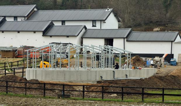 Work is under way on the new water-walker at Norton trainer Brian Ellison's Spring Cottage yard