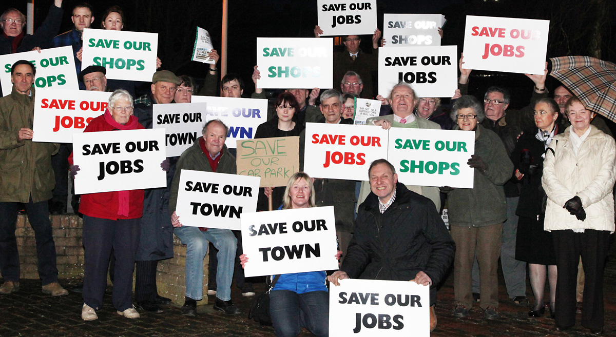 Malton and Norton Town councillors, shopkeepers and residents, protest against the Wentworth Street car park supermarket proposals outside a full meeting of Ryedale District Council