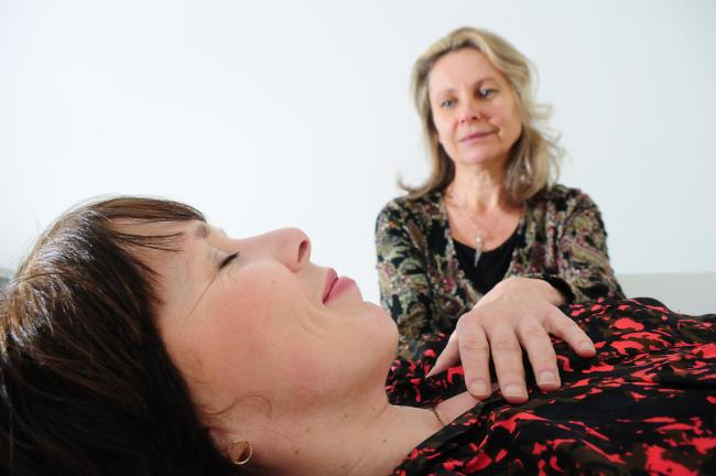 Maxine Gordon tries out craniosacral therapy with Sylvia Schroer