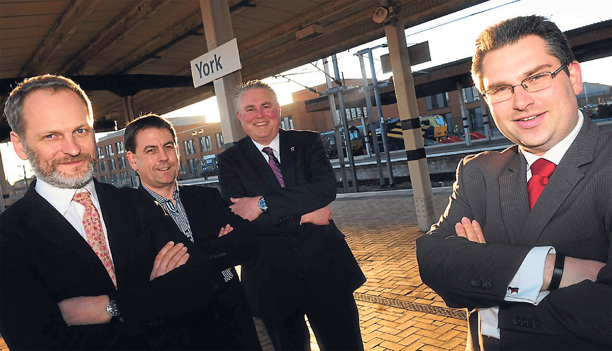 City of York Council leader, Coun James Alexander, the director of the National Railway Museum in York, Paul Kirkman, Stephen Hind and Darren Richardson at York Station. Secondary school heads have backed the campaign to bring a railway college to York