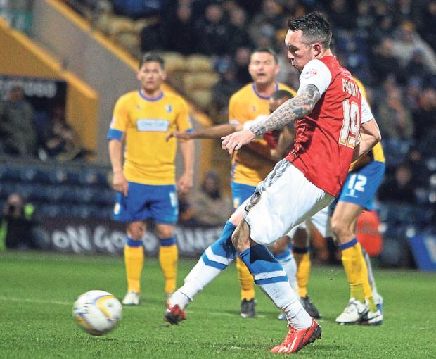 York City striker Ryan Bowman fires his side into a 32nd minute lead from the penalty spot against Mansfield Town at Field Mill. Picture: Gordon Clayton
