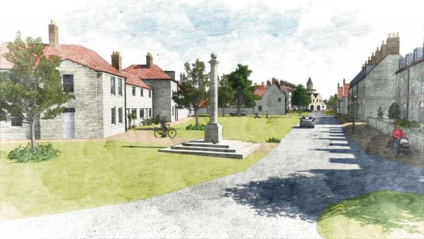 Architect Jan Maciag artist's impression of the site shows plans to include a village green