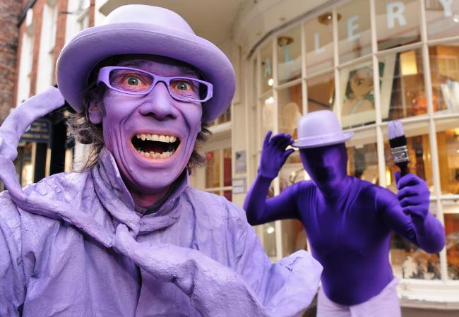 Pyramid Gallery owner Terry Brett with Purpleman