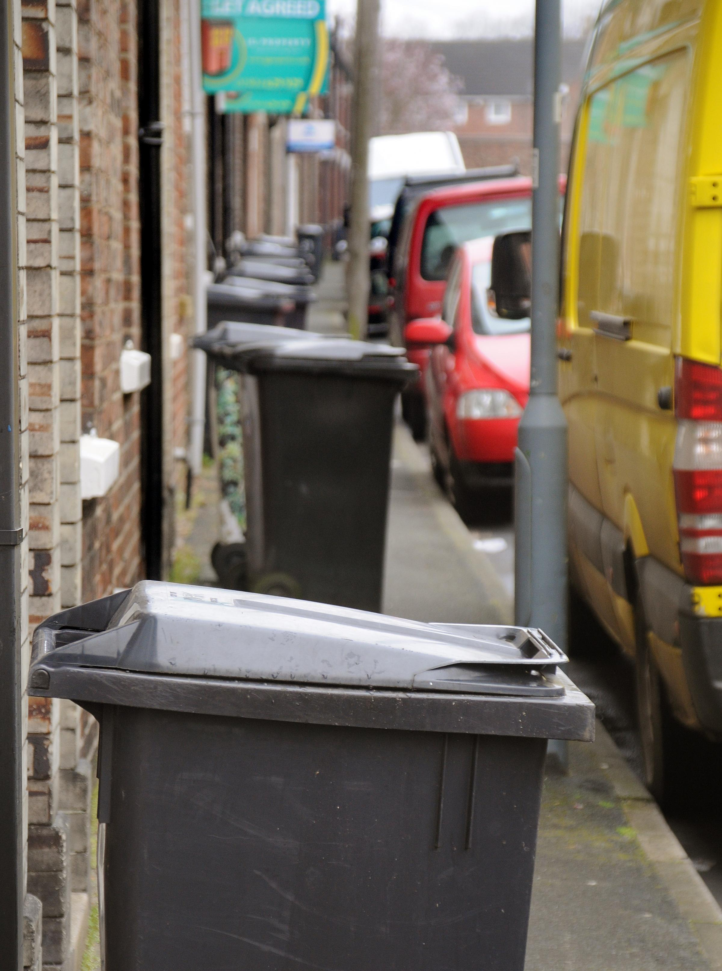 OBSTACLES: Farrar Street, where bins have not been emptied because refuse trucks cannot get down the street