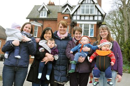 Vanessa Wright, centre, who is to open the Little Green Rascals nursery in York, with Victoria Steen and Izzy, Chia Suan Chong and Isabelle, Elizabethe Ramsden and Jacob and Alyson Lister and Alfred. Picture: Nigel Holland