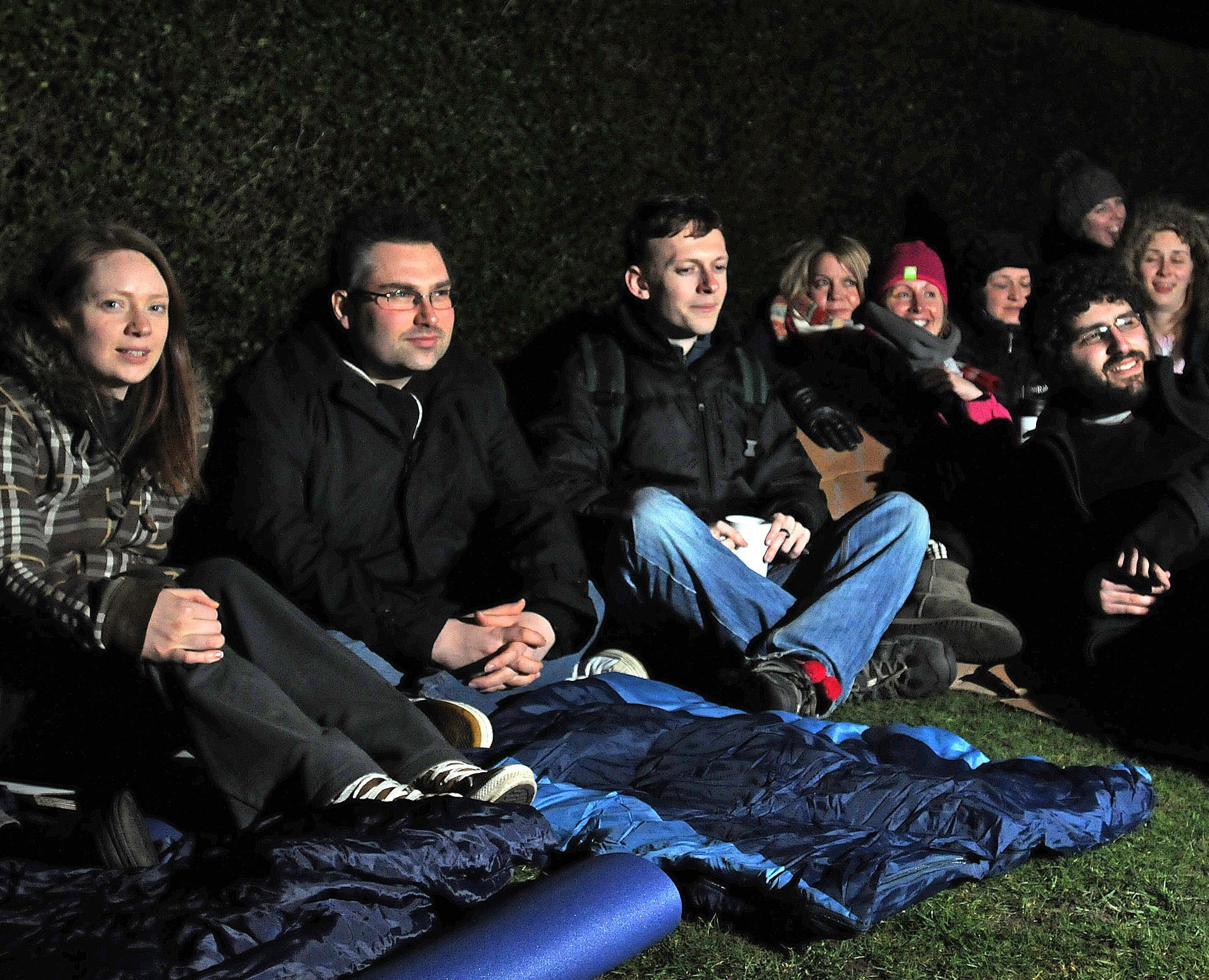 NIGHT WATCH: City of York Council leader James Alexander, second left, joins people on the SASH sleepout at The Homestead in York.  Picture: David Harrison