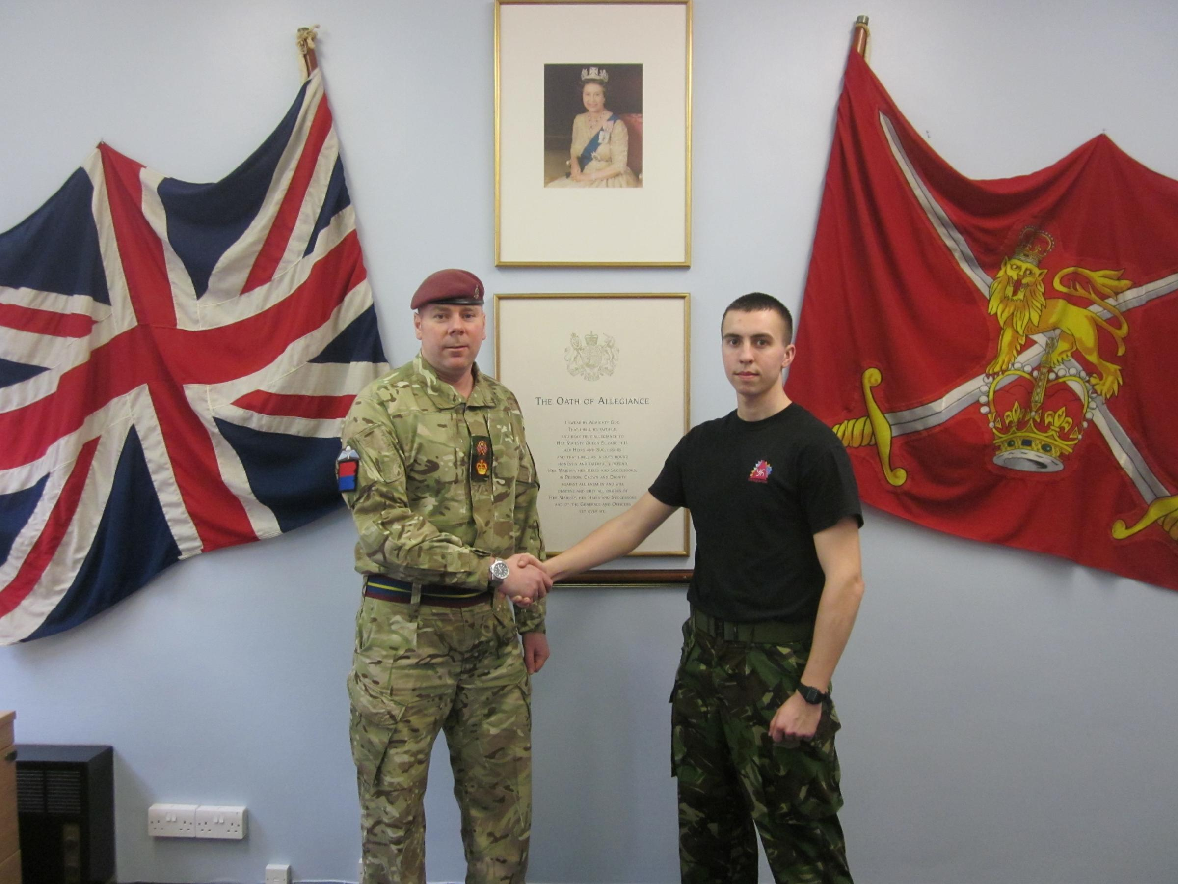 York recruit joins the army with flying colours