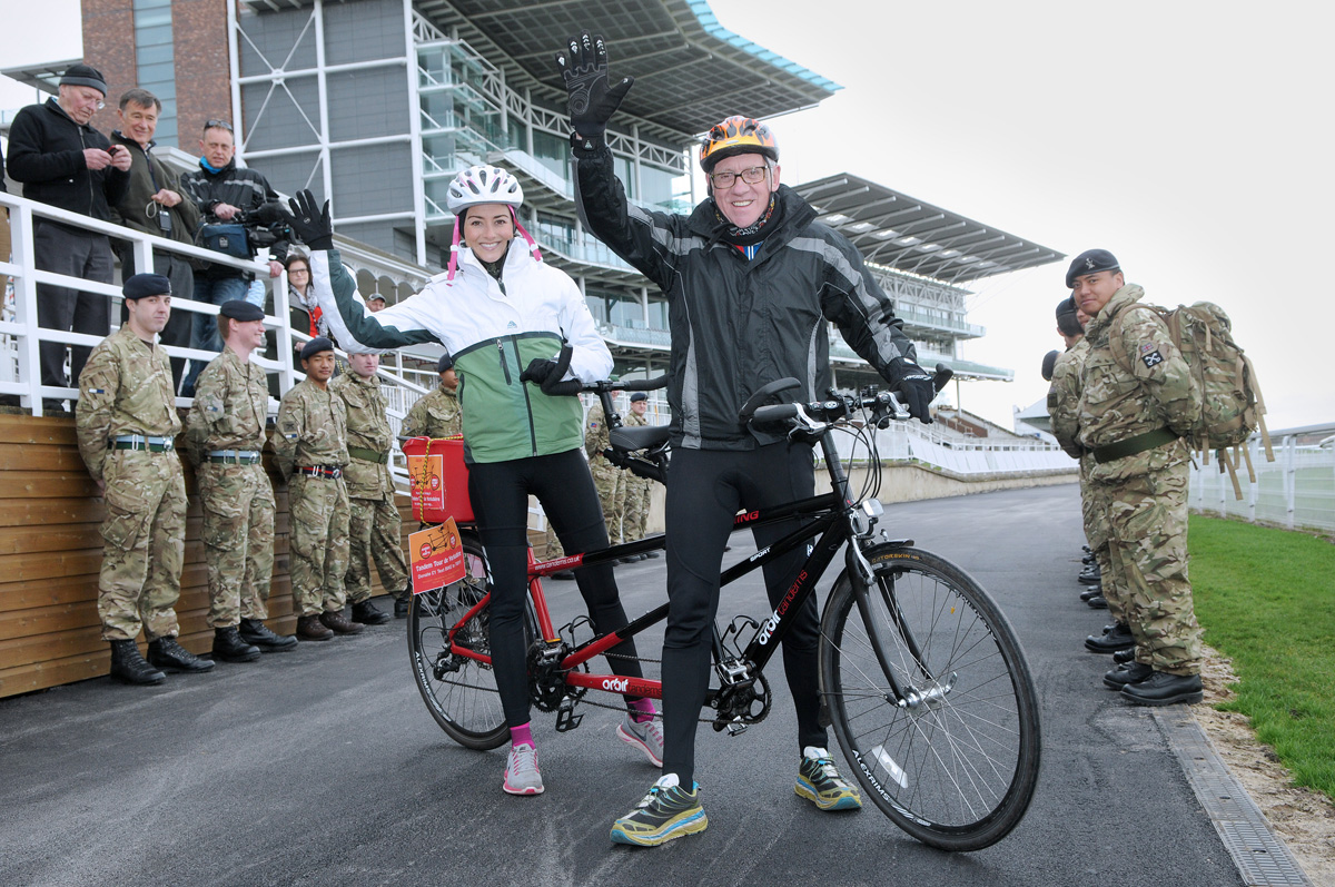 Harry Gration and Amy Garcia set off from York Racecourse yesterday