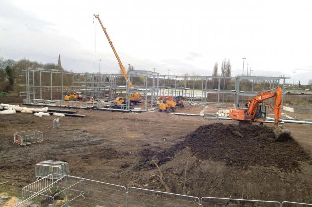 The steel framework is being erected for the new Selby Leisure Centre in Scott Road    Picture: Eric Foster
