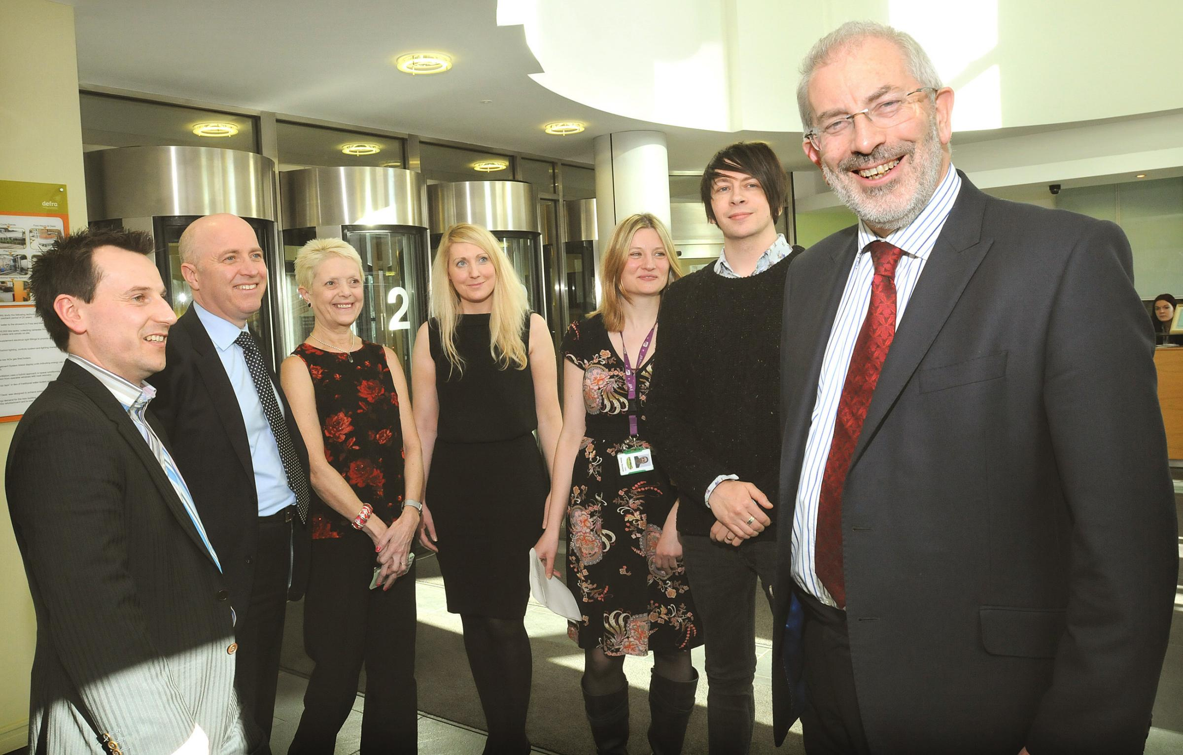 Sir Bob Kerslake, Head of the UK Civil Service with members of the Food Standards Agency during his visit to Foss House in York. From left are Michael Todd, Ken Anderson, Sue Richardson, Jayne Humble, Emma Reynolds and James Baker